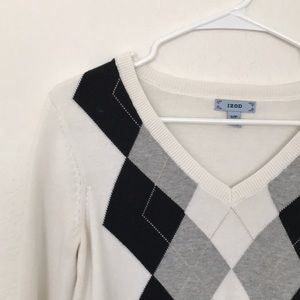 White, Black and Grey Argyle Sweater, Size Small